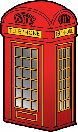telephone box: Classic Red British Phone Booth