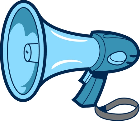 loud: Cartoon Spot Illustration of a Bullhorn