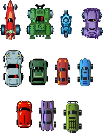 Assorted Cool Small Cartoon Cars and Vehicles for use as Assets in Computer Video Games, Top View Vector