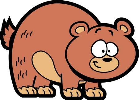 animals in the wild: Smiling Happy Brown Cartoon Grizzly Bear Illustration