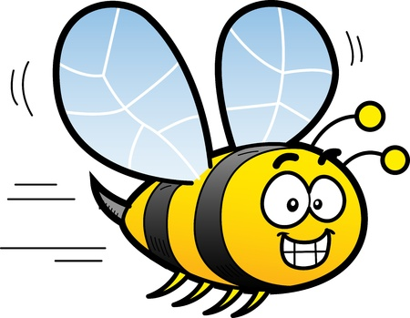Happy Smiling Cartoon Bee Flying Ilustração