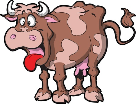 Cartoon Illustration of a Cow with Mouth Open and Tongue Hanging Out