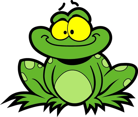 frog on lily pad: Happy Smiling Cartoon Frog