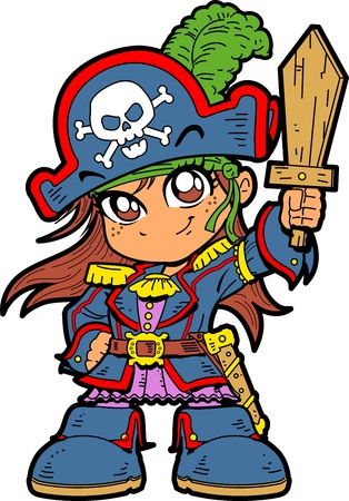 anime young: Cute Young Anime Manga Girl in Pirate Costume and Holding a Wooden Sword