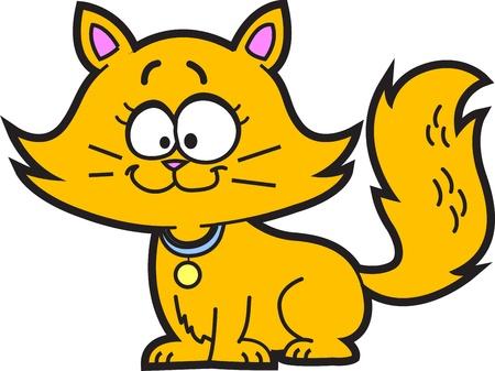 calico cat: Cute Happy Orange Cartoon Kitten