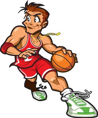 De race blanche joueur de basket dribbler le basket-ball environ pour prendre une photo Banque d'images - 20686095