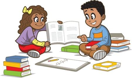 행복 소녀와 소년이 책의 무리와 함께 바닥에 앉아