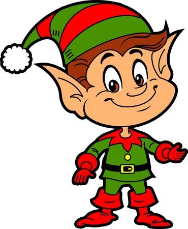 Szczęśliwy chłopiec uśmiecha się Boże Narodzenie Święty Mikołaj Elf