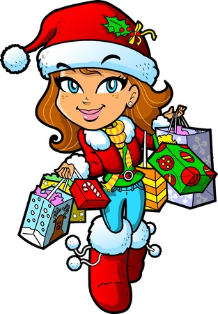 Cute Brunette Girl With Santa Hat On a Christmas Shopping Trip With Lots of Bags Vector