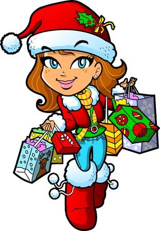 niña: Linda chica morena con el sombrero de Santa en un viaje de compras de Navidad con un montón de bolsas de