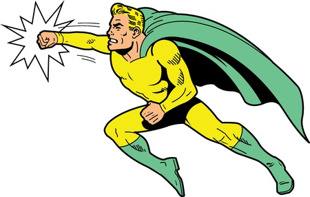 heroic: Classic retro superhero with cape and clenched teeth throwing a punch