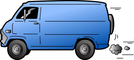 Cool Beat-up Blue Van Illustration