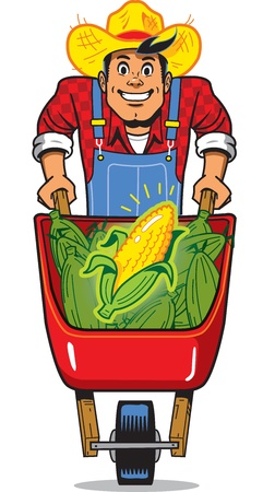 Happy Smiling Corn Farmer with Wheelbarrow Full of Corn