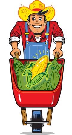 Happy Smiling Corn Farmer with Wheelbarrow Full of Corn