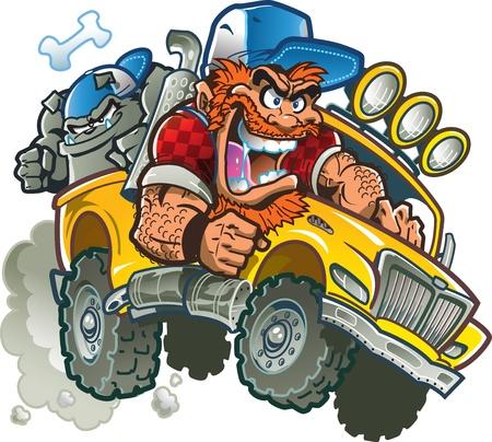 camion caricatura: Wild Redneck Crazy In camioneta con gorros, pelo rojo, barba y Bulldog