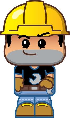 Cute Cartoon Construction Worker Avatar