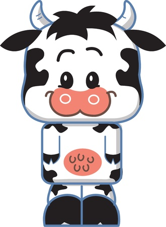 Cute Smiling Cow Cartoon Character Vector