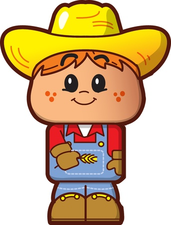 Cute Happy Farmer Avatar Vector