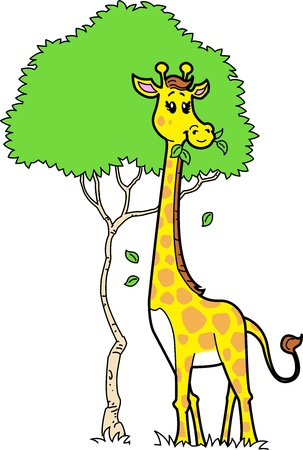 Cute Cartoon Giraffe Eating Leaves from a Tree Vector