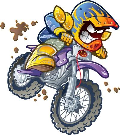 casco moto: Dirt Bike jinete de la motocicleta Hacer un salto extremo y chapoteando en el barro Vectores