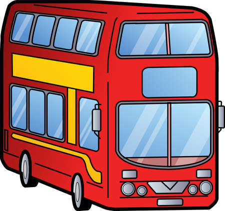 double decker bus: Classic Red London Double Decker Bus Illustration