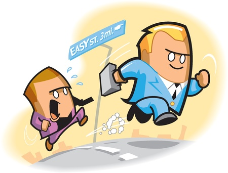 easy money: Cartoon of two businessmen competing for financial security