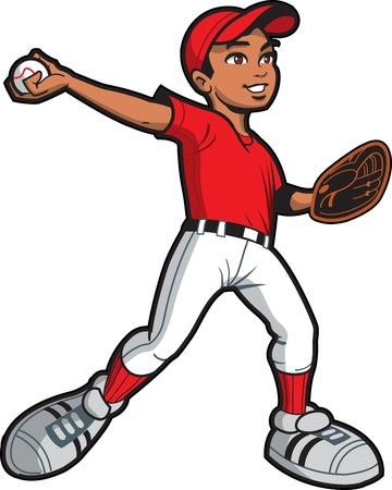 baseball cartoon: Ethnic Young Man Baseball Softball Pitcher Throwing a Pitch