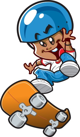 Happy Young Smiling Ethnic Boy Riding a Skateboard Vector