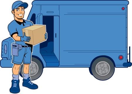 Express levering man die een pakket, permanent in de voorkant van zijn vrachtwagen