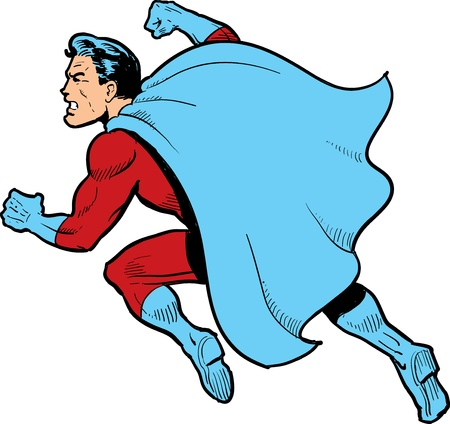 Super: Classic superhero with cape fighting and throwing a punch