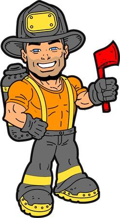 Knappe Lachende Brandweerman Holding een Bijl Stock Illustratie