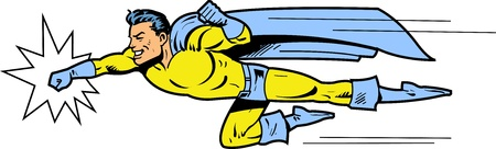 Flying classic retro superhero smiling and throwing a punch