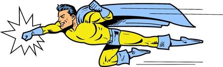 Vliegen klassieke retro superheld glimlachend en het gooien van een punch Stock Illustratie