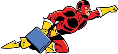 Vliegen Zaken Superhero Met Briefcase