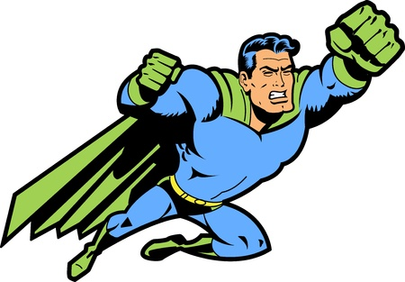 Flying Classic Retro Superhero With Clenched Teeth and Fist Ready To Fight Vettoriali