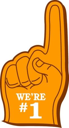 """Nous sommes n ° 1"""" Fan de sport doigt en mousse Banque d'images - 20686925"""