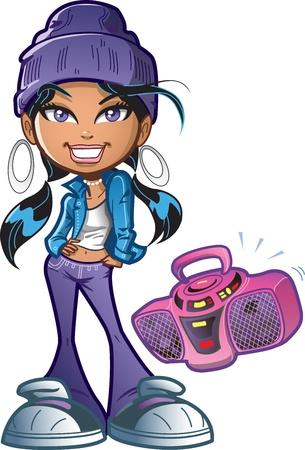 Pretty Funky Inner City Girl Met Boombox en Attitude Stockfoto - 20686931