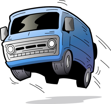 Leuke Old Blue Van Bouncing On the Road Stock Illustratie