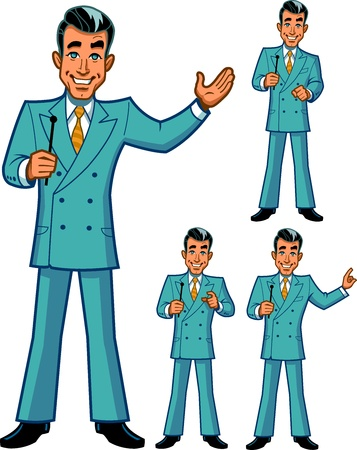 TV Game Show Host in vier klassischen Posen Illustration