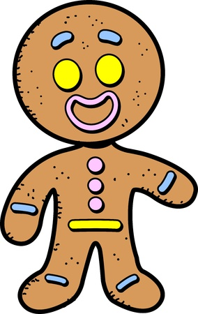 Happy Smiling Cartoon Gingerbread Man Cookie Vector