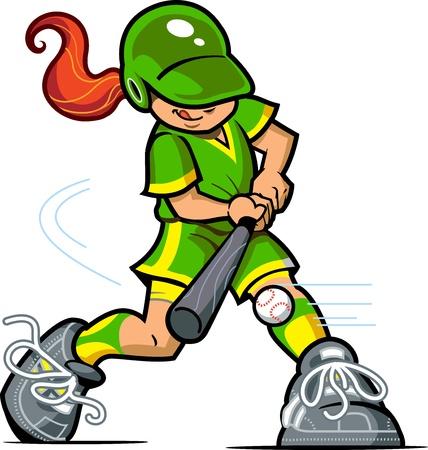 guante de beisbol: Muchacha del b�isbol o softbol bateador joven que hace pivotar en la bola Vectores