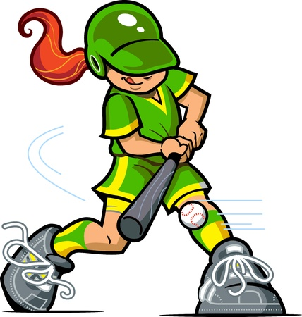 baseball cartoon: Young Girl Baseball or Softball Batter Swinging at the Ball Illustration