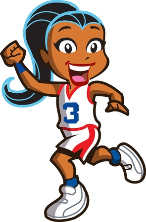 exercise cartoon: Smiling Ethnic Girl Basketball Player Running Down the Court Illustration