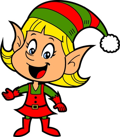 Happy Smiling Blonde Girl Christmas Santas Elf Illustration