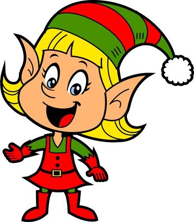 Happy uśmiechnięta blondynka dziewczyna Boże Narodzenie Święty Mikołaj Elf Ilustracje wektorowe