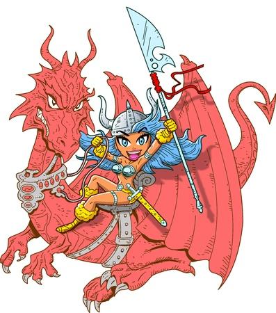 剣と槍を持つ神話少女ドラゴン ライダー  イラスト・ベクター素材