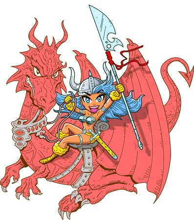 mythical: Mythical Girl Dragon Rider with Sword and Spear