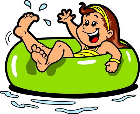 インナー チューブ浮き輪で水に浮かんで幸せな女の子