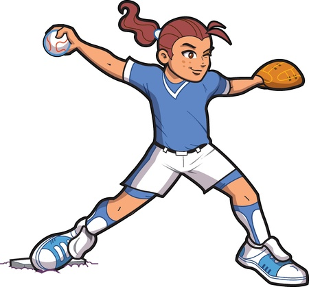 baseball cartoon: Girl Softball Baseball Pitcher with Ponytail and Proper Form Illustration
