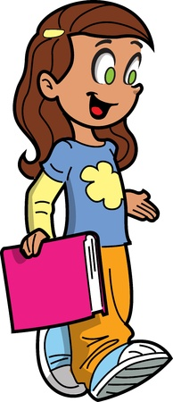 teenagers learning: Happy Schoolgirl Carrying a Book